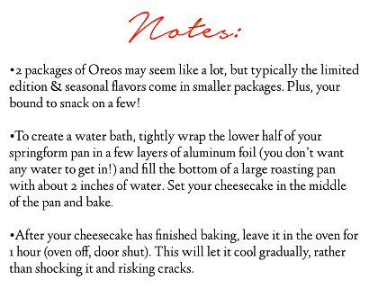 Cheesecake Notes